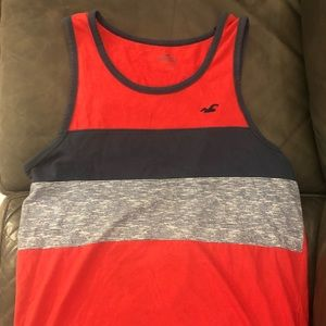 Men's Hollister Tank Top Size Small Red & Stripes